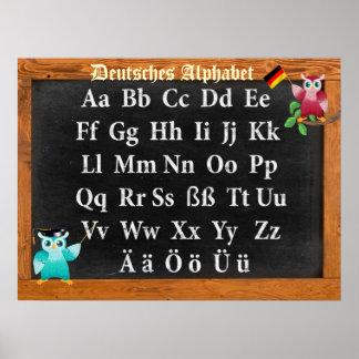 Niedlicher Professor Owl German Deutsches Alphabet Poster