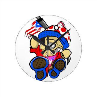Niedlicher Puerto- Ricocharakter mit Flagge Runde Wanduhr