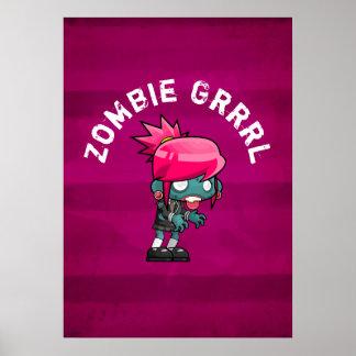 Niedlicher Punkfelsen-Zombie Grrrl Poster