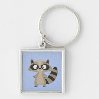 Niedlicher Raccoon auf Blau Silberfarbener Quadratischer Schlüsselanhänger