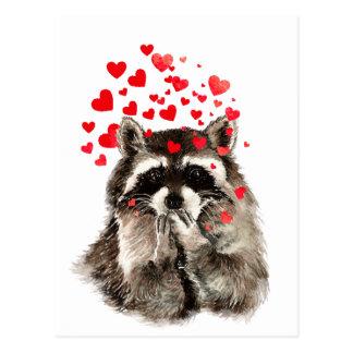 Niedlicher Raccoon-durchbrennenkuss-Liebe-Herzen Postkarte