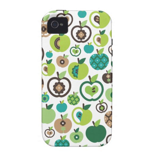 Niedlicher retro Apfel-Blumen-Musterentwurf iPhone 4 Cover
