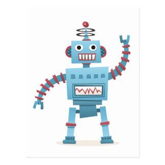 Niedlicher retro Roboter Android scherzt Cartoon Postkarte