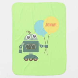 Niedlicher Roboter mit Ballonen für Babys Babydecken