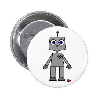 Niedlicher Roboter mit einem defekten Herzen Anstecknadelbutton