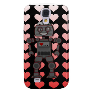 Niedlicher Roboter u. rosa Herzen iPhone 3 Fall Galaxy S4 Hülle