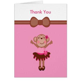 Niedlicher, rosa Affe im Tutu-Mädchen danken Ihnen Karte