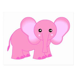 Niedlicher rosa Baby-Elefant Postkarte