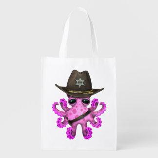 Niedlicher rosa Baby-Kraken-Sheriff Wiederverwendbare Einkaufstasche