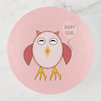 Niedlicher rosa Baby-Mädchen-Euletrinket-Behälter Dekoschale
