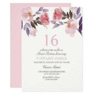 Niedlicher rosa Blumengeburtstag des 11,4 X 15,9 Cm Einladungskarte