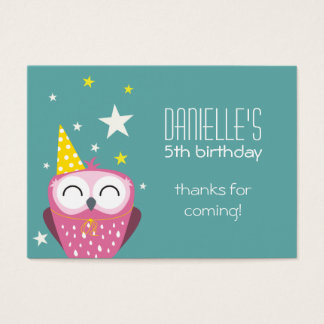 Niedlicher rosa Eulen-Geburtstag danken Ihnen Visitenkarte