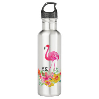 Niedlicher rosa Flamingo u. tropischer Trinkflasche