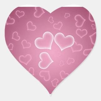 Niedlicher rosa Herz-Hintergrund Herz Aufkleber