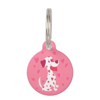 Niedlicher rosa Herzenvalentine-Dalmatiner Tiernamensmarke
