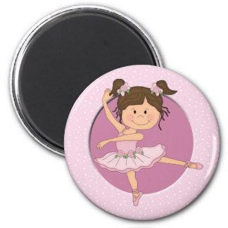 Niedlicher rosa individueller Name der Ballerina-1 Runder Magnet 5,1 Cm