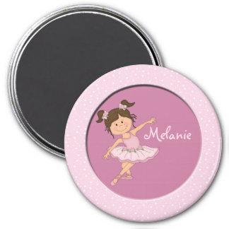 Niedlicher rosa individueller Name der Ballerina-2 Runder Magnet 7,6 Cm