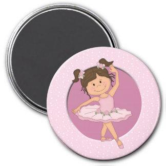 Niedlicher rosa individueller Name der Ballerina-4 Runder Magnet 7,6 Cm