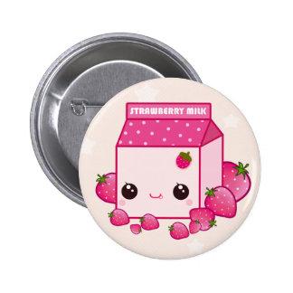 Niedlicher rosa Milchkarton mit kawaii Erdbeeren Runder Button 5,7 Cm