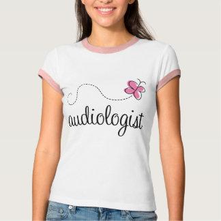 Niedlicher rosa Schmetterlings-Audiologe T-Shirt