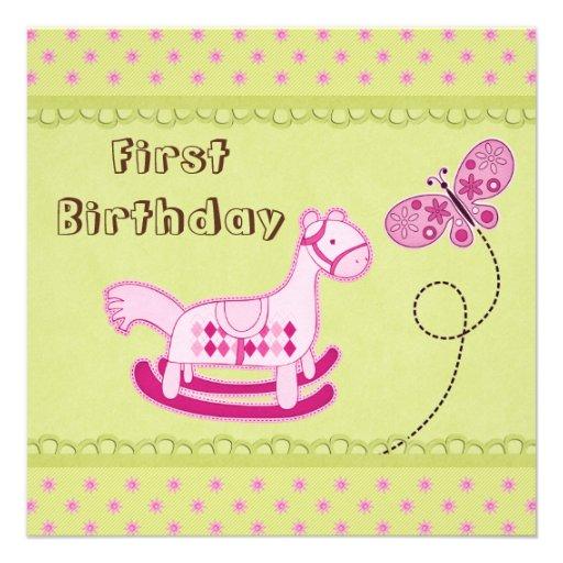 Niedlicher rosa Schwingpferde-u. Schmetterlings-1. Einladungskarte