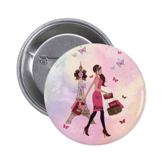 Niedlicher rosa Turm Watercolor-Mädchen-Paris Runder Button 5,7 Cm