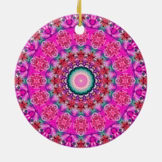 Niedlicher rosa und aquamariner Mandala des Keramik Ornament