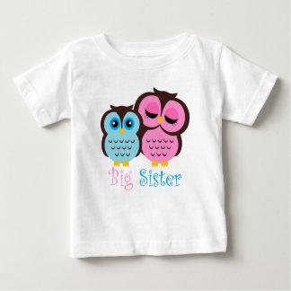 Niedlicher rosa und blauer Eulen-große Baby T-shirt
