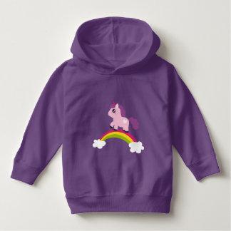 Niedlicher rosa Unicorn auf einem Regenbogen Hoodie