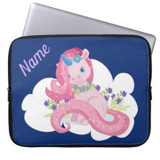 Niedlicher rosa Unicorn personalisiert Laptop Sleeve