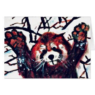 Niedlicher roter Panda-Schnee-Tag Karte