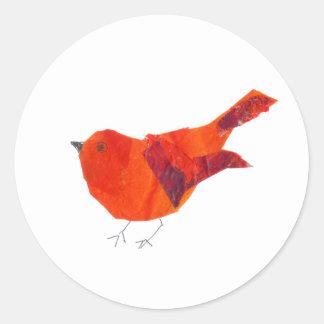 Niedlicher roter Vogel des Valentines Tages Runder Aufkleber
