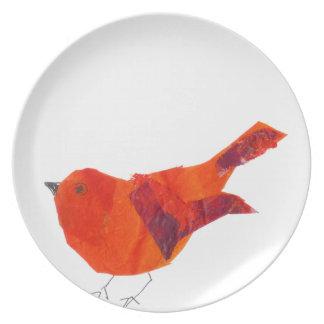 Niedlicher roter Vogel Melaminteller