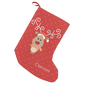 Niedlicher Rudolph der rote gerochene Ren-Cartoon Kleiner Weihnachtsstrumpf