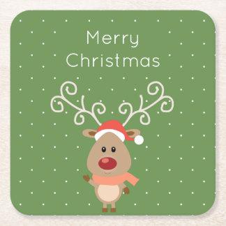 Niedlicher Rudolph der rote gerochene Ren-Cartoon Rechteckiger Pappuntersetzer