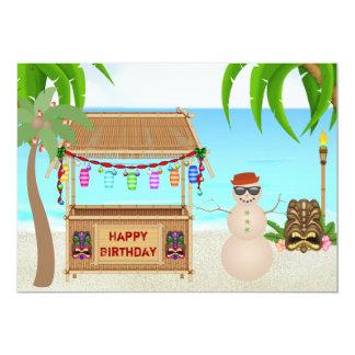 Niedlicher Sandsnowman-Strand-Winter-Geburtstag 12,7 X 17,8 Cm Einladungskarte