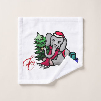 Niedlicher Sankt-Weihnachtselefant mit Monogramm Waschlappen