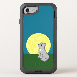 Niedlicher schäbiger Wolf mit Mond Otterbox OtterBox Defender iPhone 8/7 Hülle