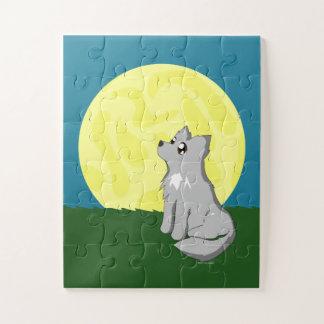 Niedlicher schäbiger Wolf mit Mond scherzt Puzzle