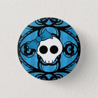 Niedlicher Schädel auf Blau und Schwarzem Runder Button 3,2 Cm