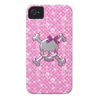 Niedlicher Schädel mit dem Band-Rosa-BlackBerry iPhone 4 Cover