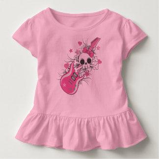 Niedlicher Schädel mit rosa Gitarre Kleinkind T-shirt