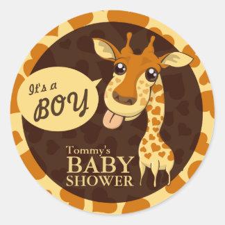 Niedlicher Schatz-Giraffen-Baby-Duschen-runder Runder Aufkleber