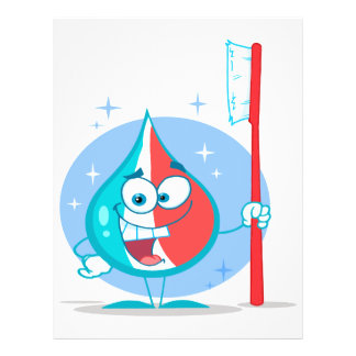niedlicher Scheinzahnpastacharakter mit Zahnbürste Bedruckte Flyer