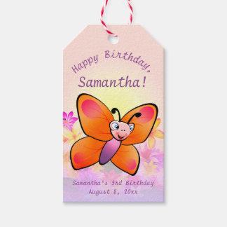 Niedlicher Schmetterling mit bunten Blumen Geschenkanhänger