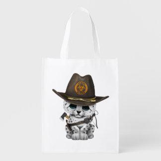 Niedlicher Schnee-Leopard-CUB-Zombie-Jäger Wiederverwendbare Einkaufstasche