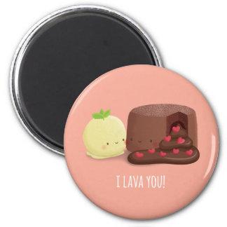 Niedlicher Schokoladen-Lava-Kuchen-und Runder Magnet 5,1 Cm