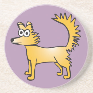 Niedlicher schrulliger Cartoonhund Sandstein Untersetzer