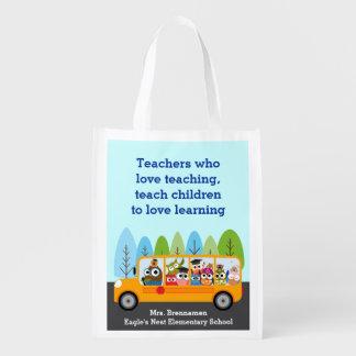 Niedlicher Schulbus-Eulen-Fahrer Wiederverwendbare Einkaufstasche