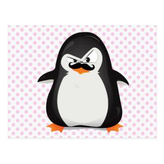 Niedlicher Schwarz-weißer Penguin und lustiger Postkarte